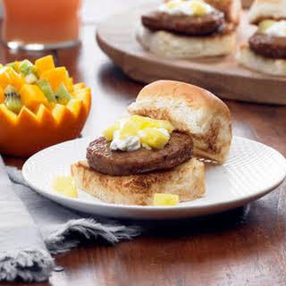 Hawaiian Style Breakfast Sausage Sliders.