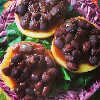 Polenta Chili Cakes over Collard Greens