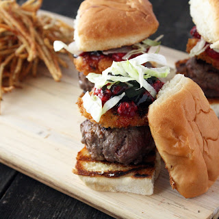 Beef Sliders with Fried Goat Cheese, Smashed Raspberries, and Balsamic.