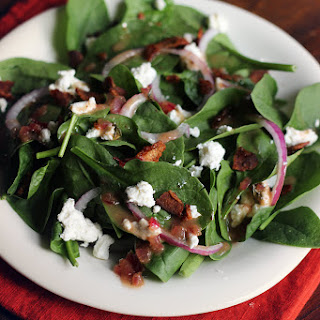 Bacon Vinaigrette on Goat Cheese Spinach Salad