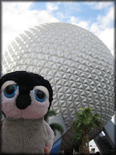 Photo: Carlisle poses in front of Spaceship Earth at Epcot (Walt Disney World)