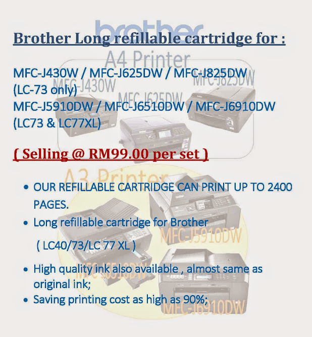 A4/A3 Inkjet Printer MFC-J430W / MFC-J5910DW-Brother Long refillable cartridge