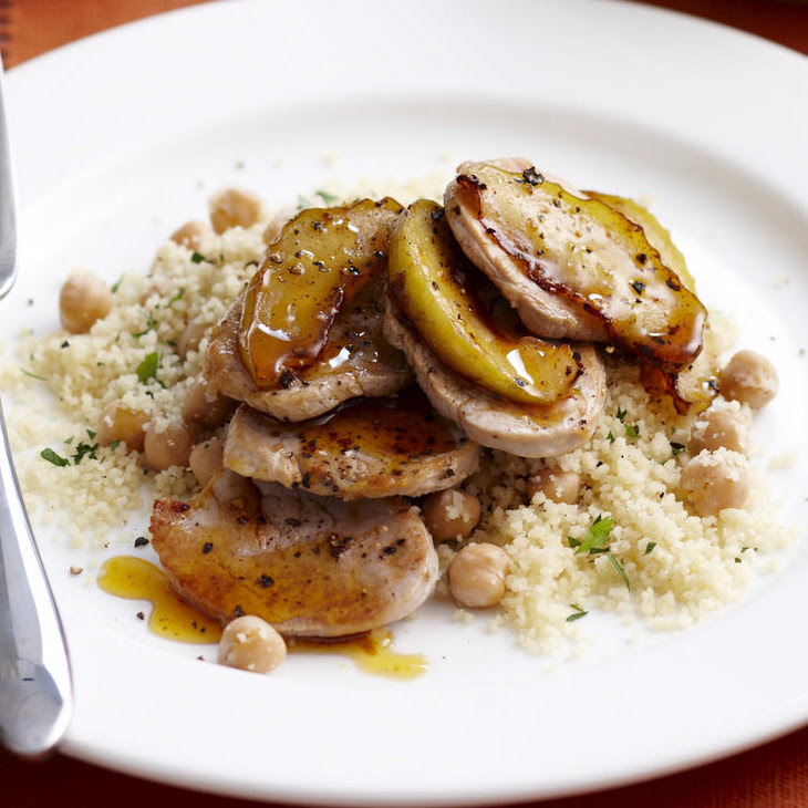 Spiced Pork Tenderloin with Caramelized Apples and Couscous