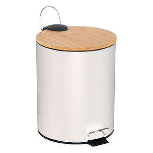 Cos de gunoi baie, metalic, capac din bambus, 5 Litri