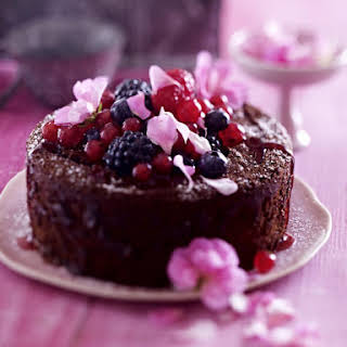 Chocolate Thyme Cake with Mixed Berry Compote.