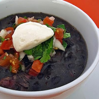 Black Bean Soup With Pico De Gallo and Chipotle Creme