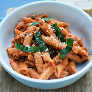 Creamy Tomato and Basil Penne Pasta.