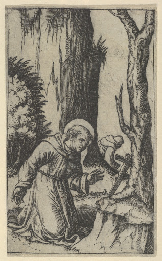 Saint Francis of Assisi praying before a crucifix, from the series 'Piccoli Santi' (Small Saints)