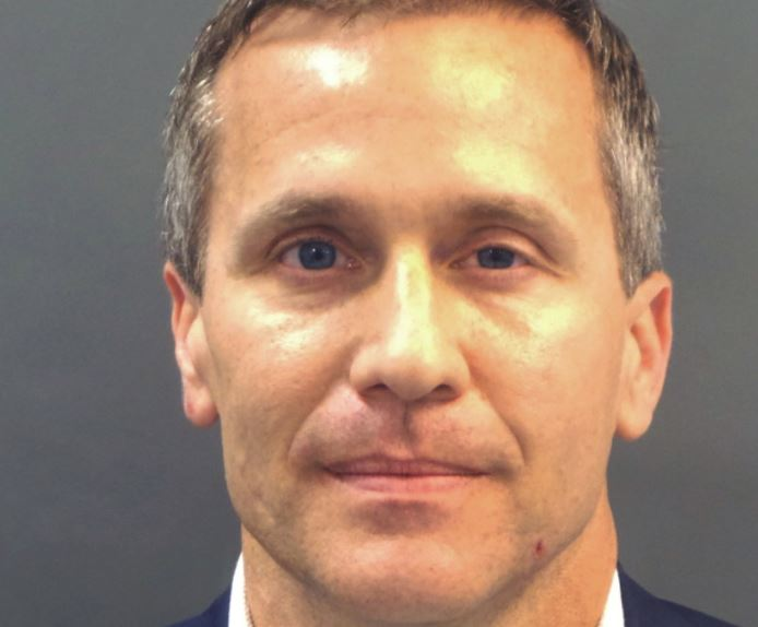 Missouri Governor Eric Greitens appears in a police booking photo in St. Louis, Missouri, US, February 22, 2018.