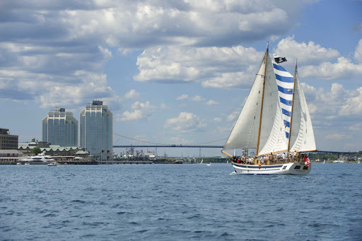 halifax-harbour-sailboat-bridge.jpg - Take a schooner out into Nova Scotia Harbour to get a taste of the area.