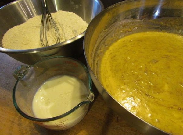 Gradually alternate your flour mixture and buttermilk to the wet ingredients beginning and ending...