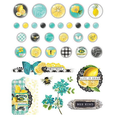 Simple Stories Self-Adhesive Brads 33/Pkg - SV Lemon Twist
