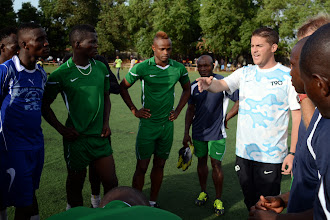 Photo: Head Coach Johnny McKinstry speaks with the Team [Leone Stars Training Camp in advance of Tunisia Game, June 2013 (Pic: Darren McKinstry)]