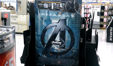 Photo: In the electronics, we finally found a display (with DVDs) where you take a picture with Avengers characters.