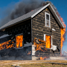 Engulfed by Christopher Pischel - Buildings & Architecture Decaying & Abandoned ( firefighter, controlled burn, heat, smoke, fire )