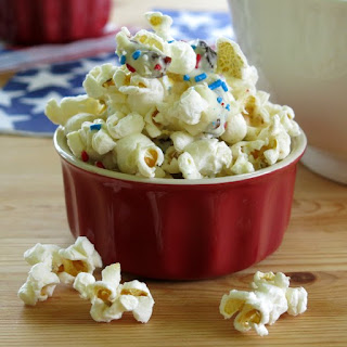 White Chocolate Popcorn with Dried Cherries
