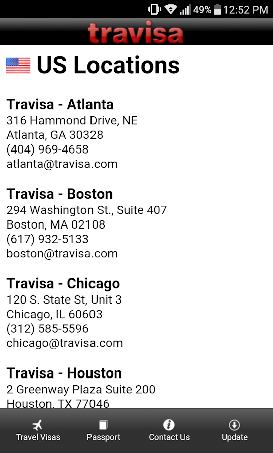 Travisa Visa- screenshot