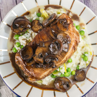 Truffle Risotto with Balsamic Mushroom Pork Chops.