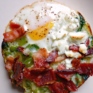Baked Eggs with Green Peppers Bacon and Goat Cheese