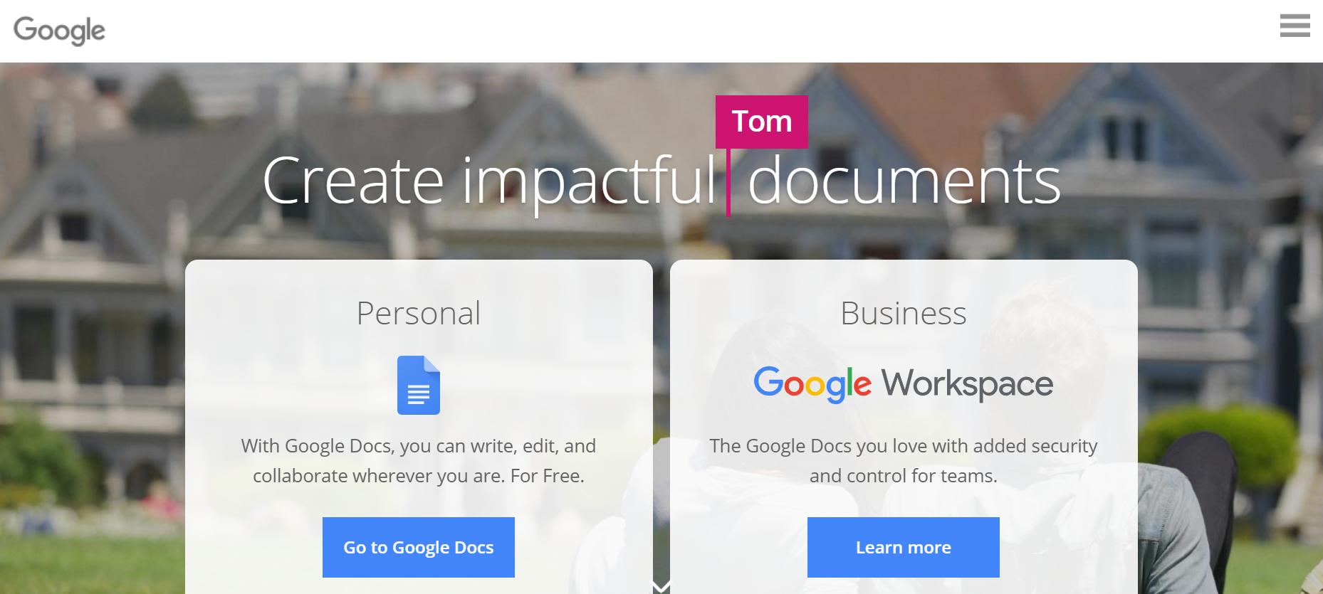 Google docs blogging tool for newbie cannabis writers homepage screenshot.
