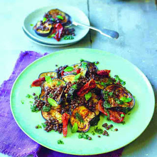 Aubergine, Puy Lentils and Sun-Dried Tomatoes with Mint Oil Recipes Recipe