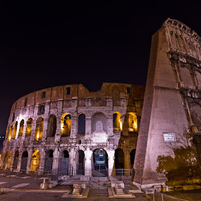 Other side of the Colosseum by night by Sebastièn Petri - Buildings & Architecture Public & Historical ( colosseum, arena, rome, night, historical )