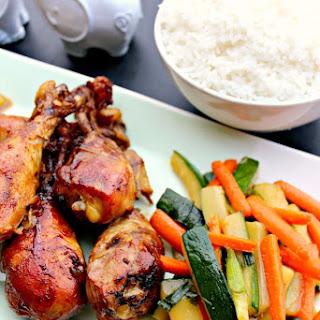 Slow Cooker Teriyaki Chicken Drummers and Stir-fried Veggies