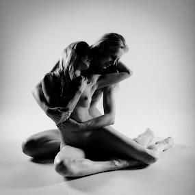 A tender moment by Nigel Johnson - People Fine Art ( breast, blonde, nude, joceline, black and white, shadow, woman, legs, arms, 2 girl, cuddle, katy cee )