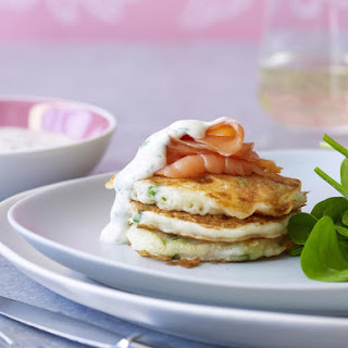 Mixed Vegetable Fritters with Smoked Salmon.