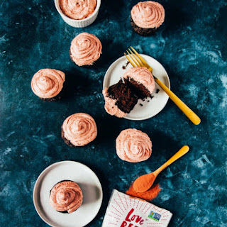 Vegan Chocolate Cupcakes with Buttercream Pink Frosting.
