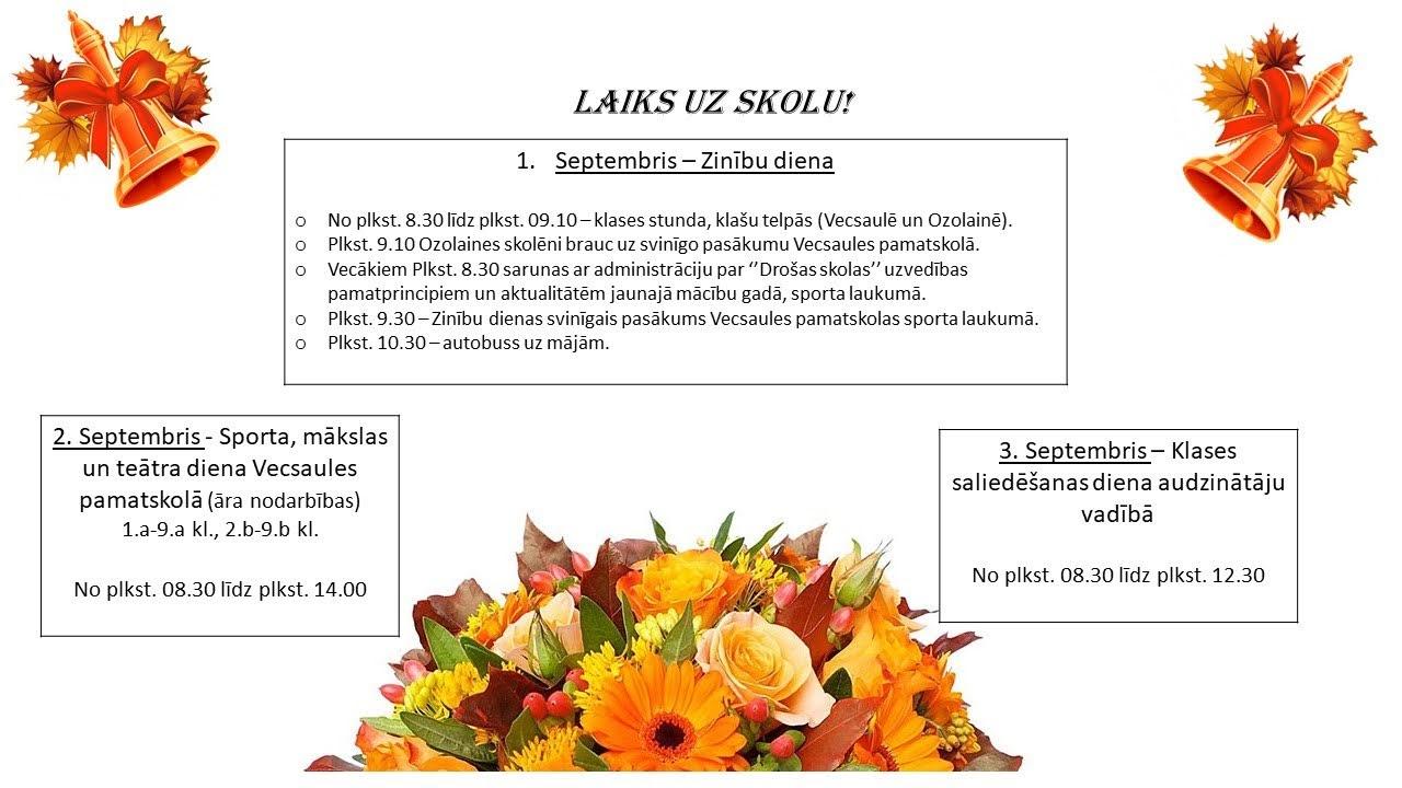 Informācija par septembra pirmās nedēļas pasākumiem
