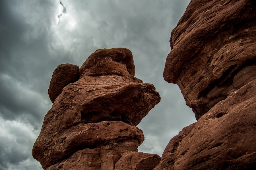 Storm over Siamese by Andrew Brinkman - Nature Up Close Rock & Stone ( clouds, sky, nature, rock formations, colorado, rock, garden of the gods )