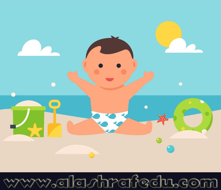 Baby Sitting Sandy Beach With Toys Pool WElOcLlY2DodZmH3El9A