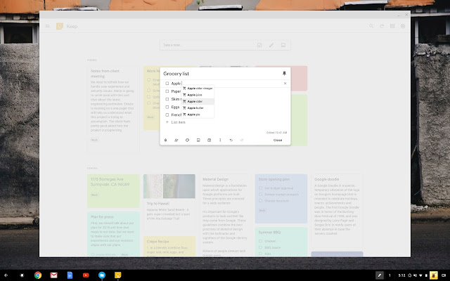 Google Keep casillas de verificacion