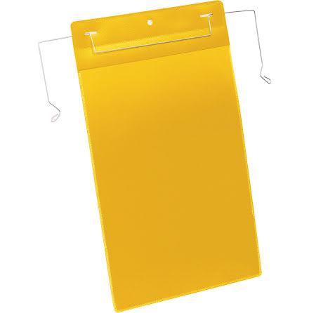 Plastficka A4S trådbygel gul