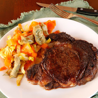Broiled Steak and Artichoke Carrot Salad