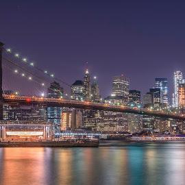 Brooklyn Bridge by Razvan Iliescu - City,  Street & Park  Skylines ( brooklyn bridge, skyline, manhattan, us, new york, usa, city, city scape, lights, east river, carousel, night, new york city )