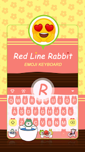 Red Line Rabbit Theme&Emoji Keyboard - náhled