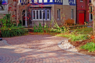 Photo: Red granite gravel was used here to create an additional parking area without making impermeable surfaces.