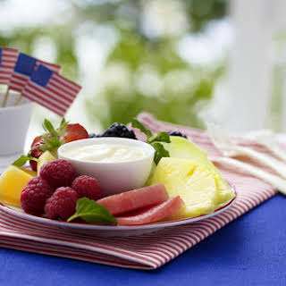 Fruit Plate with Dipping Sauce.