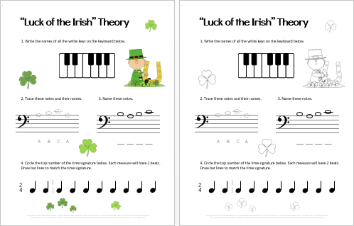 St-Patricks-Day-group-piano-theory-worksheet-for-beginners