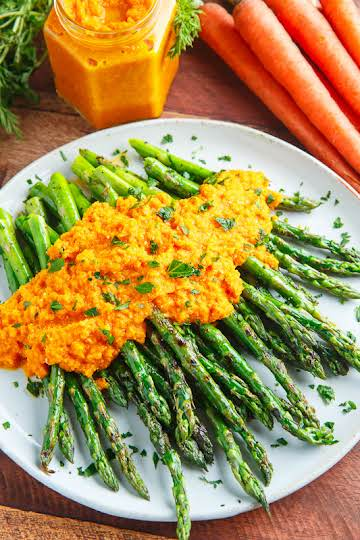 Grilled Asparagus with Carrot Ginger Dressing Recipe