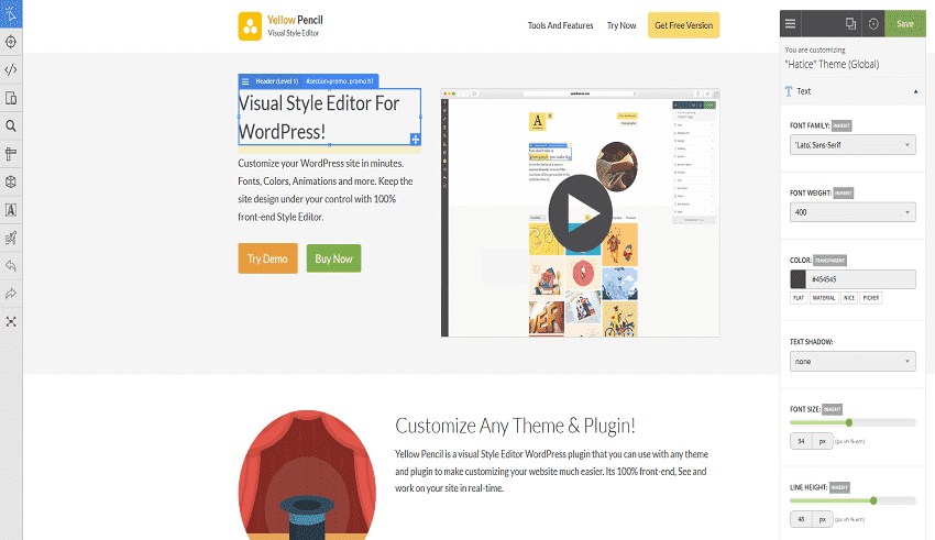 Plugins Yellow Pencil chỉnh sửa CSS cho wordpress