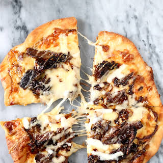 Short Rib Pizza with Smoked Gouda Cream Sauce.