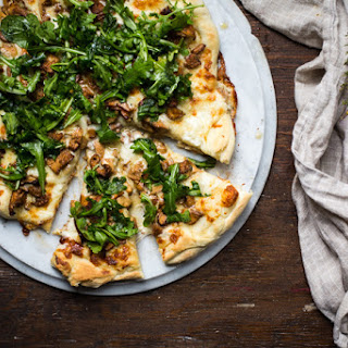 Garlic White Pizza with Chanterelles and Arugula