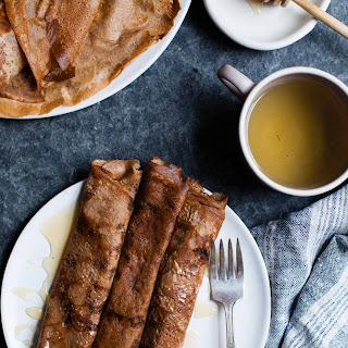 Hazelnut Chestnut Crepes with Brie & Burnt Honey {gluten-free}