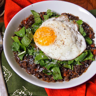 Lentil Stew with Fried Eggs and Arugula