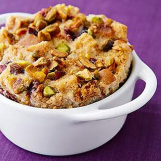 Cardamom, Pistachio & Pear Bread Pudding