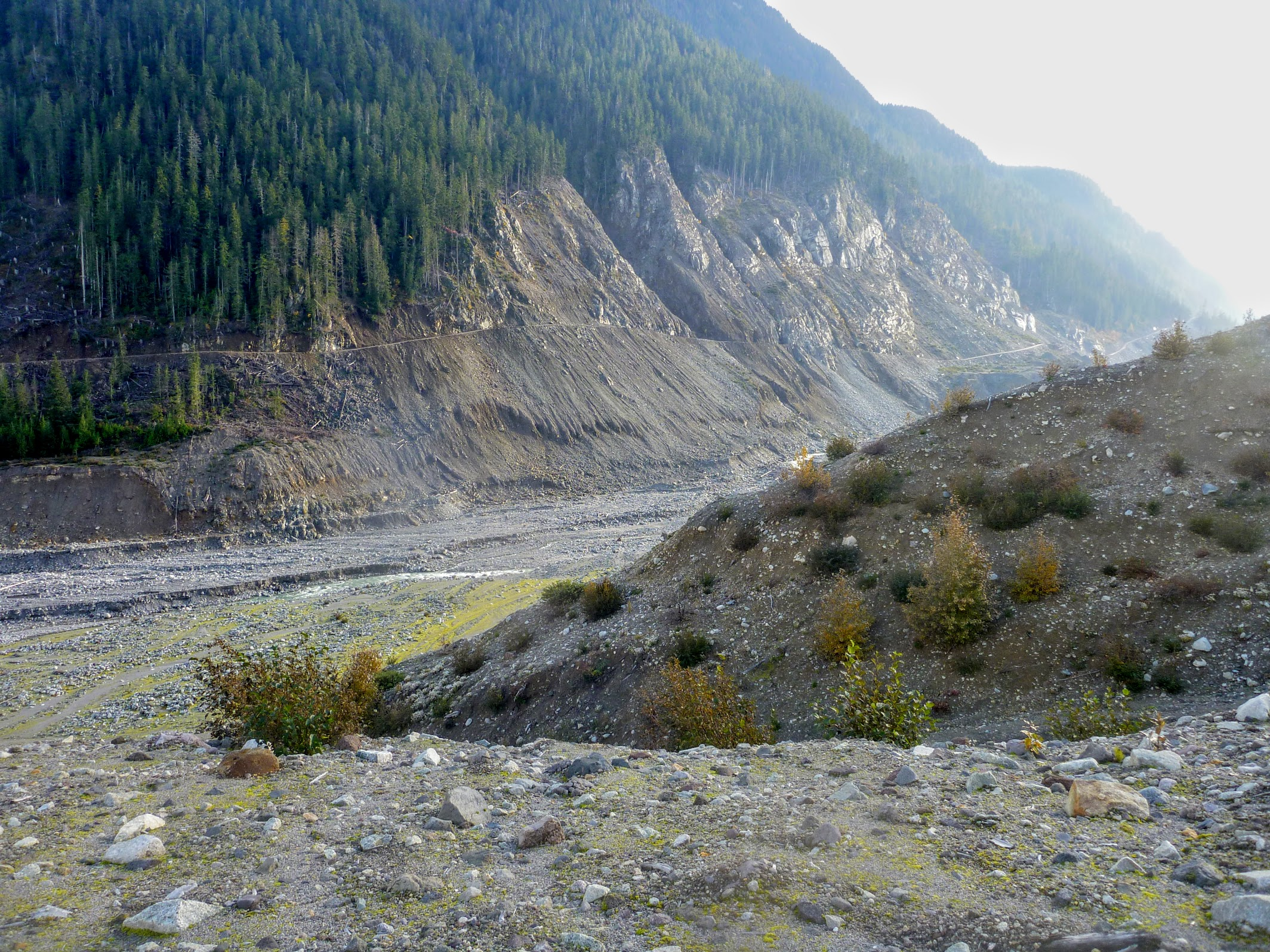 This gives a good view of where the landslide sloshed up the side of Meager Creek. It came down Capricorn Creek (on the right), crossed the Meager and made it up 300 m or so, taking all the trees and all the soil such that few new trees have started.