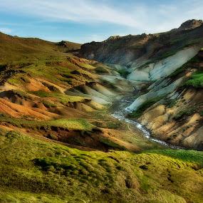 Trolls retreat by Kaspars Dzenis - Landscapes Mountains & Hills ( hills, mountains, iceland, green, geothermal, valley, landscape, river )